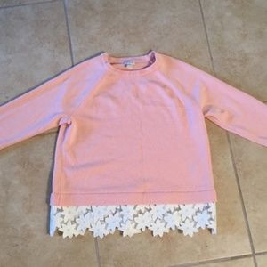 JCrew pink sweater with floral hem